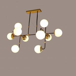 """מנורה צמודת תיקרה יורדת עם מוטות עשויה מחומר פליז עם עשרה כדורים חלביים בקוטר 12 ס""""מ, המנורה עוצבה על ידי המעצב יעקב ארז מבית רנאור עיצובי תאורה תוצרת כחול לבן עבודת יד, ניתן לקבל כל גודל , צבע וזכוכית לפי דרישה."""