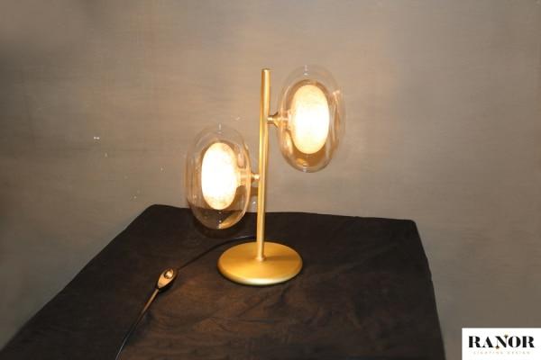 מנורת שולחן בצבע זהב עם 2 נורות